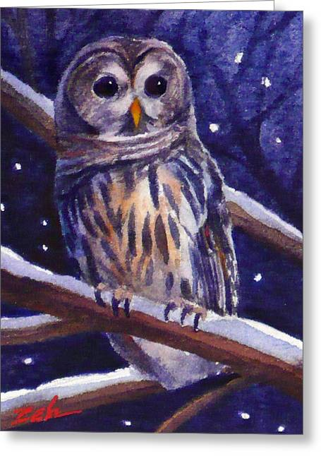 Barred Owl And Starry Sky Greeting Card