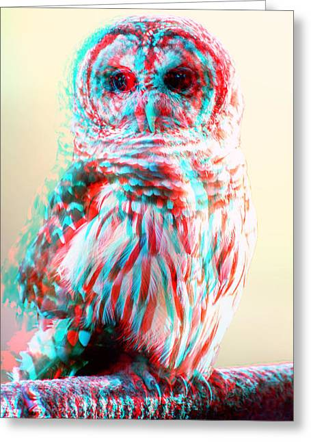 Barred Owl - Use Red-cyan 3d Glasses Greeting Card