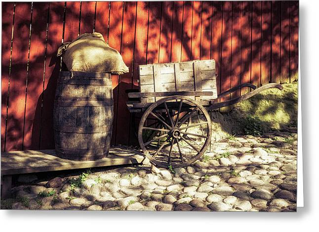 Greeting Card featuring the photograph Barrel And Cart by James Billings