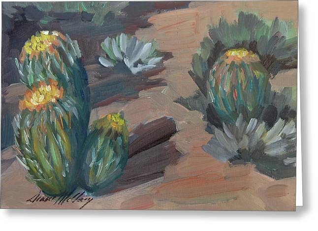 Greeting Card featuring the painting Barrel Cactus At Tortilla Flat by Diane McClary