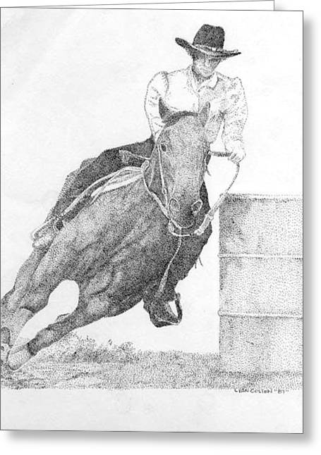 Wild Racers Greeting Cards - Barrel Racer Greeting Card by Lucien Van Oosten