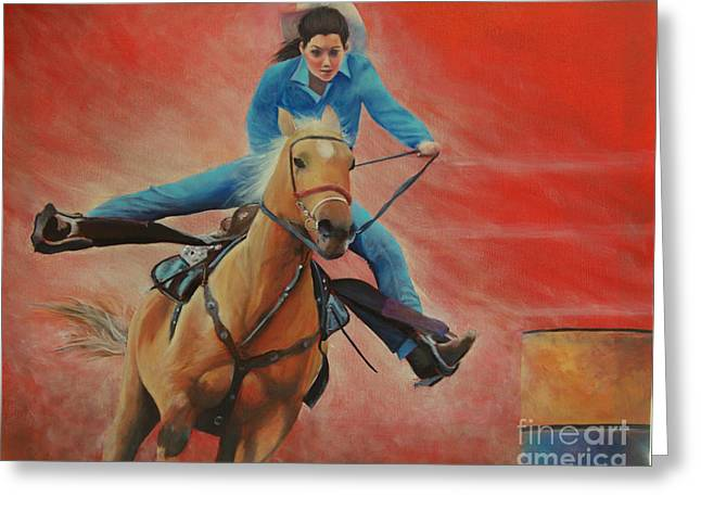 Barrel Racing Greeting Card by Jeanette French