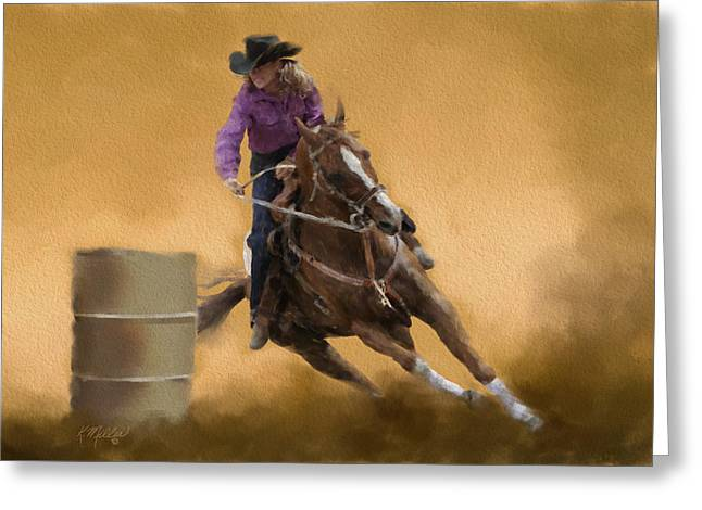 Barrel Racing Greeting Card by Kathie Miller