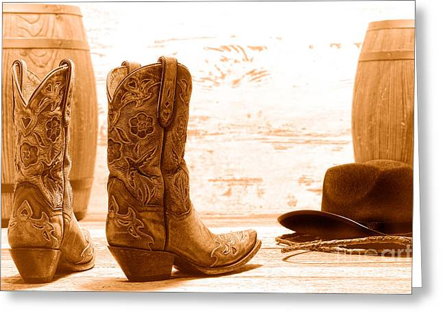 Barrel Racing - Sepia Greeting Card by Olivier Le Queinec