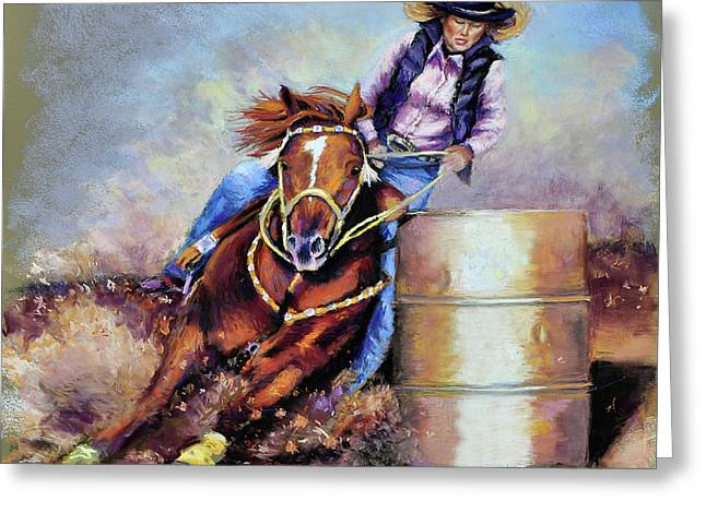Barrel Pastels Greeting Cards - Barrel Rider Greeting Card by Susan Jenkins