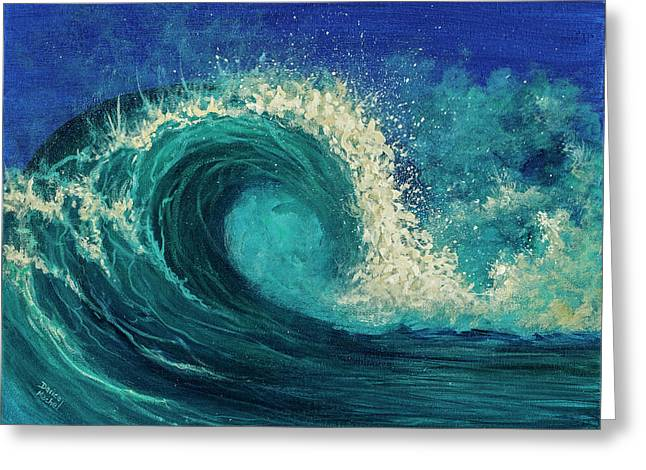 Greeting Card featuring the painting Barrel Wave by Darice Machel McGuire