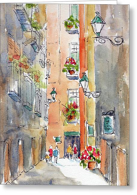 Greeting Card featuring the painting Barrio Gotico Barcelona by Pat Katz