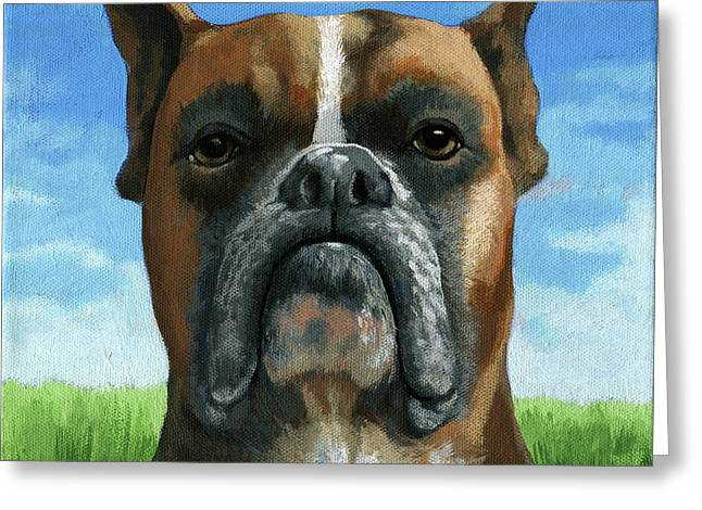 Barry Boxer Greeting Card by Linda Apple