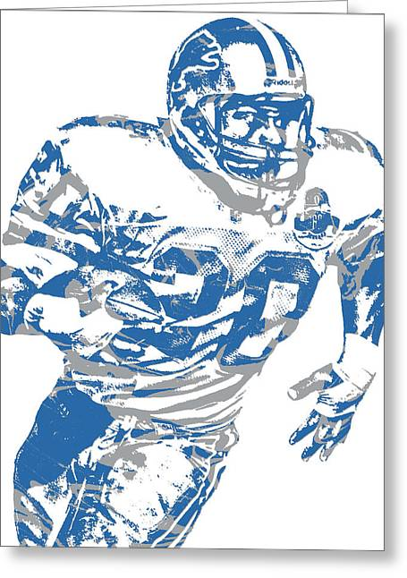 Barry Sanders Detroit Lions Pixel Art 1 Greeting Card
