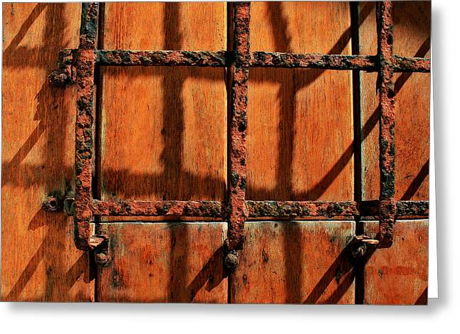 Bars And Shadows Greeting Card by Perry Webster