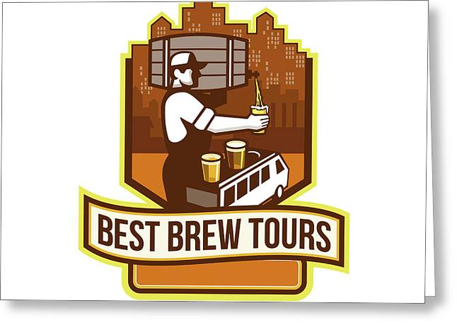 Bartender Pouring Beer Keg Cityscape Crest Retro Greeting Card