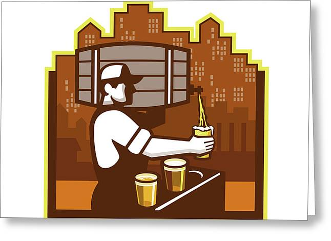 Bartender Pouring Beer Keg Cityscape Retro Greeting Card