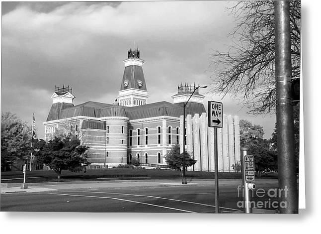 Bartholomew County Courthouse Columbus Indiana - Black And White Greeting Card by Scott D Van Osdol