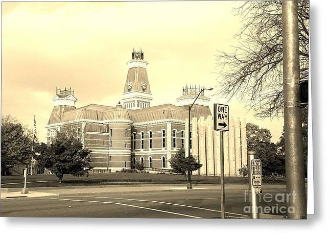 Bartholomew County Courthouse Columbus Indiana - Sepia Greeting Card by Scott D Van Osdol
