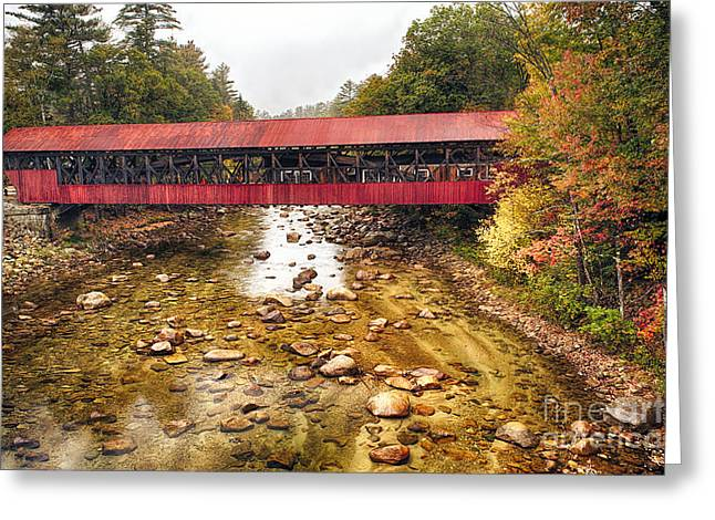 Bartlett Covered Bridge Greeting Card by George Oze