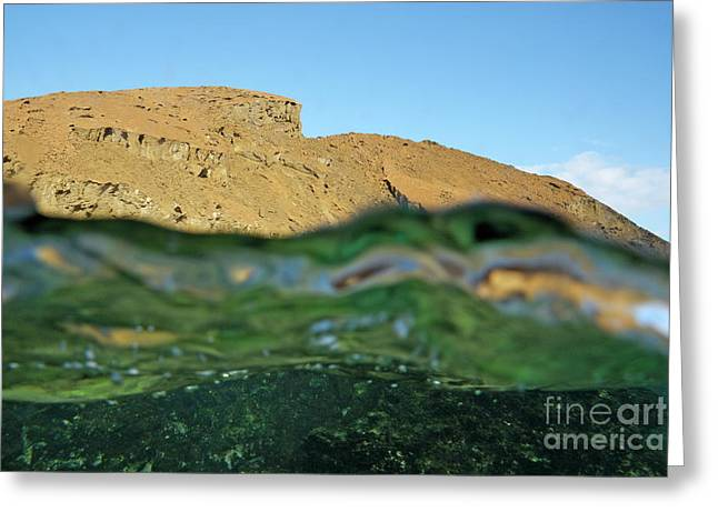 Bartolome Island Rock And Water Surface Greeting Card by Sami Sarkis