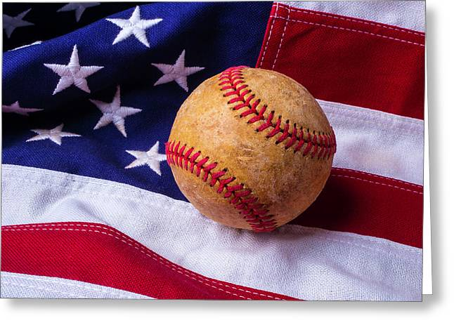 Baseball And American Flag Greeting Card by Garry Gay