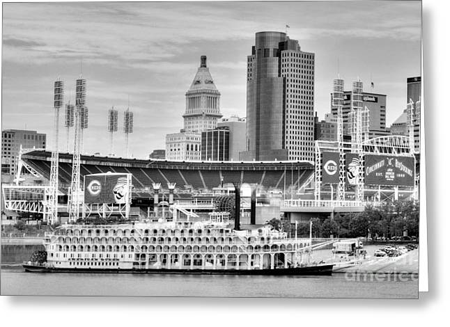 Baseball And Boats In Cincinnati Black And White Greeting Card by Mel Steinhauer