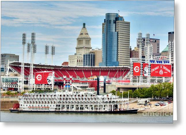 Baseball And Boats In Cincinnati Greeting Card