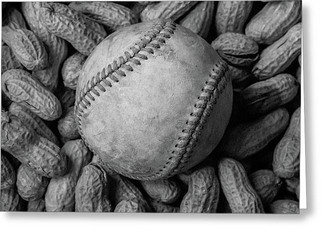 Greeting Card featuring the photograph Baseball And Peanuts Black And White Square  by Terry DeLuco