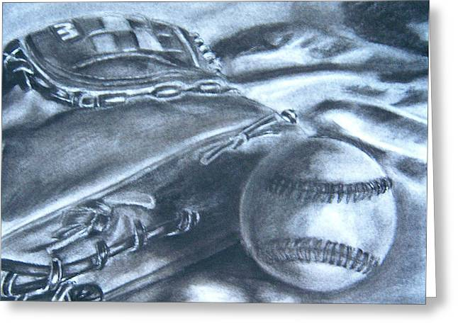 Baseball Mitt Drawings Greeting Cards - Baseball Greeting Card by Ashlee Terras