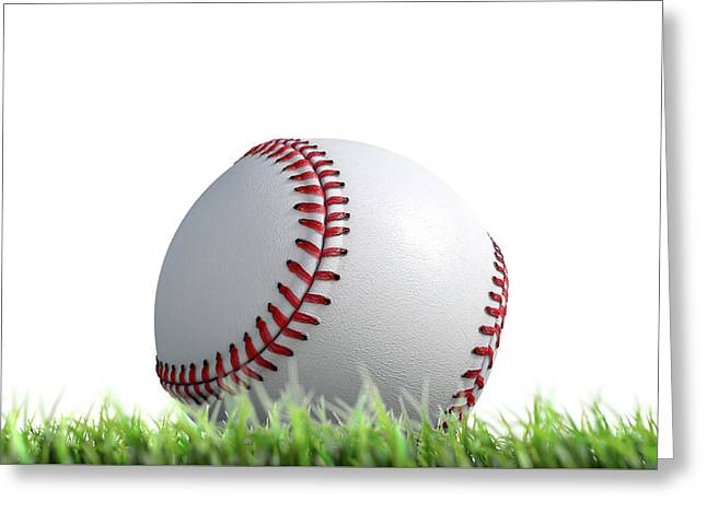 Baseball Ball Resting On Grass Greeting Card