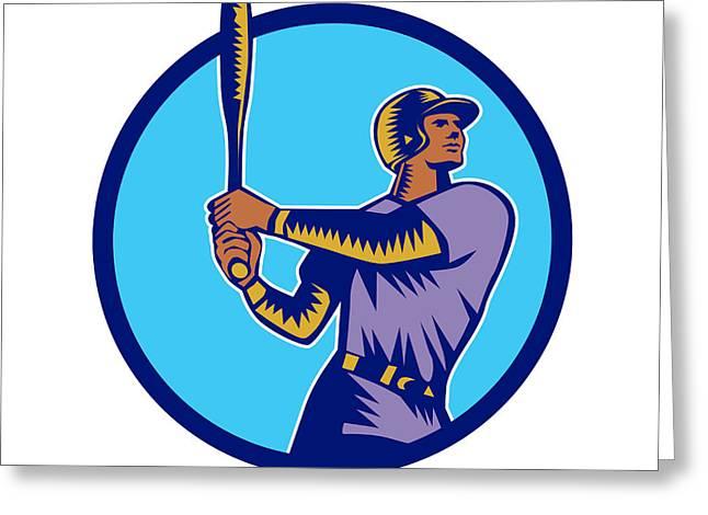 Baseball Batter Batting Bat Circle Woodcut Greeting Card