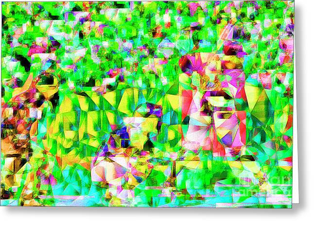 Baseball Batter Sluuger In Abstract Cubism 20170329 Greeting Card