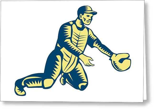 Baseball Catcher Catching Woodcut Greeting Card by Aloysius Patrimonio