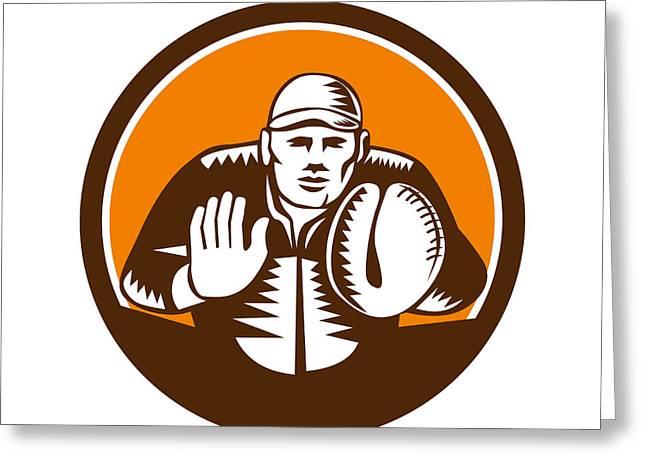 Baseball Catcher Gloves Circle Woodcut Greeting Card by Aloysius Patrimonio