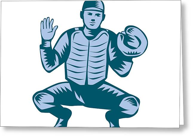 Baseball Catcher Gloves Woodcut Greeting Card