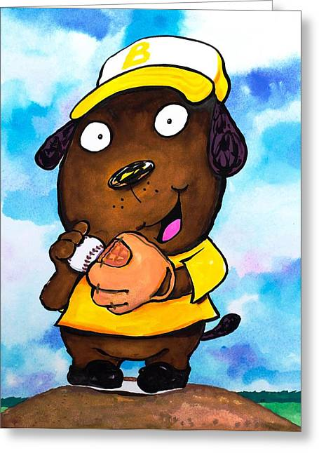 Juvenile Wall Decor Paintings Greeting Cards - Baseball Dog 2 Greeting Card by Scott Nelson