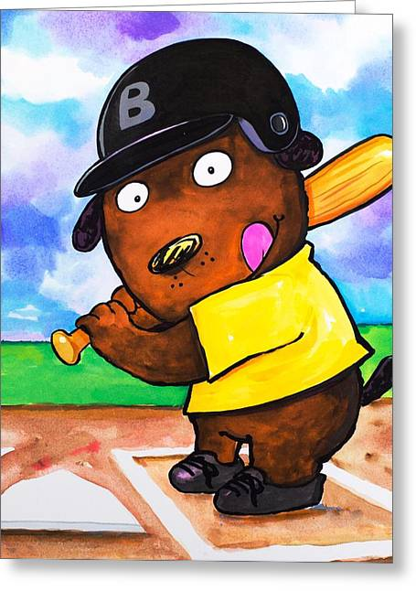 Scott Nelson And Son Paintings Greeting Cards - Baseball Dog Greeting Card by Scott Nelson