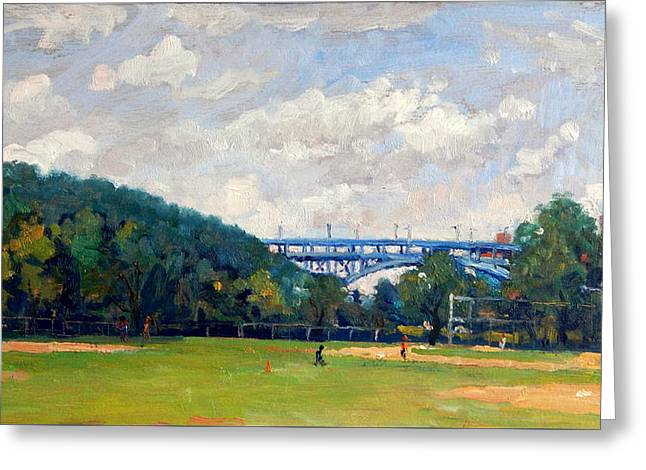 Baseball Fields Inwood Henry Hudson Bridge 8x14 Original Plein Air Impressionist Oil On Panel Greeting Card by Thor Wickstrom