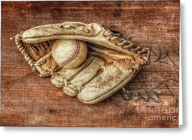 Baseball Glove And Baseball On Wood Greeting Card