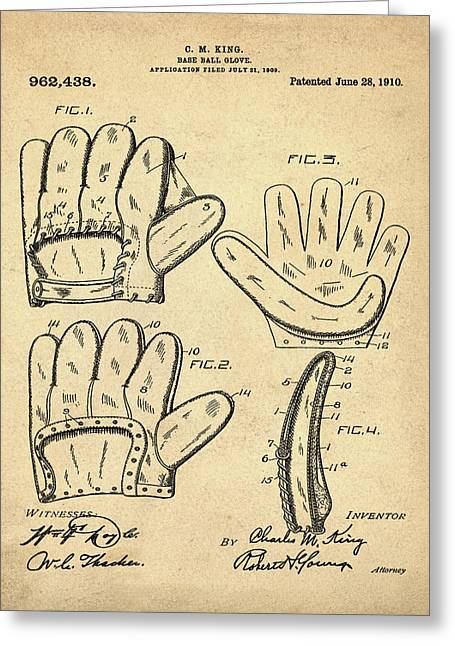 Baseball Glove Patent 1910 Sepia Greeting Card by Bill Cannon