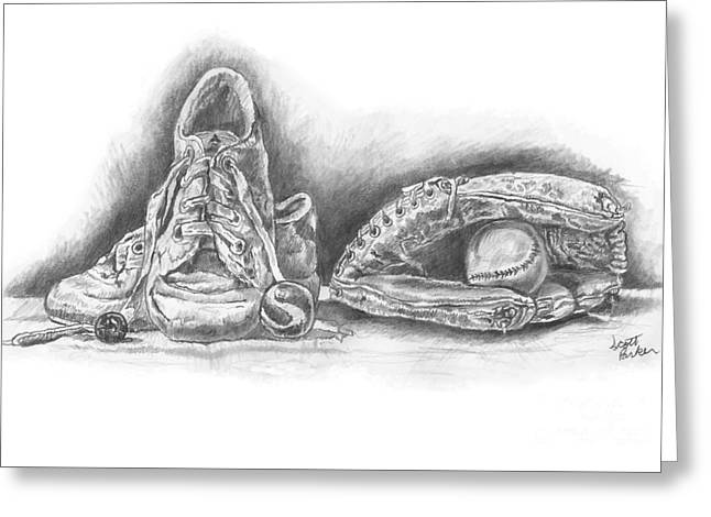 Baseball Gloves And Shoes Greeting Card