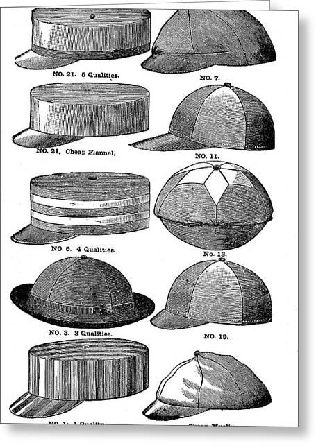 Baseball Hats  Greeting Card by Vintage Pix