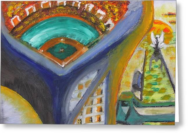 Baseball Heaven Greeting Card by Keith Cichlar