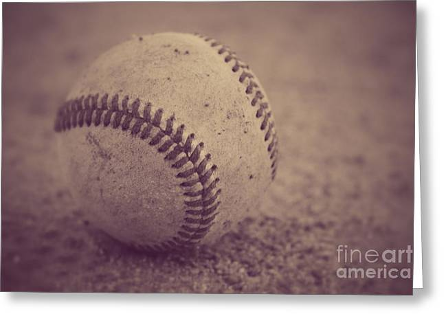 Baseball In Sepia Greeting Card