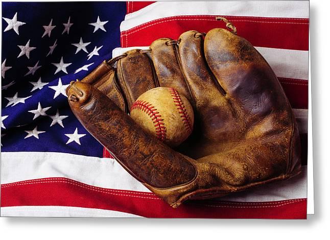 Baseball Mitt And American Flag Greeting Card