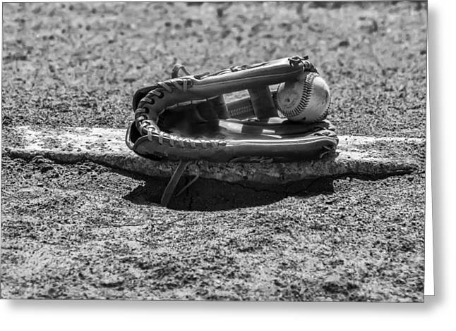 Baseball - On The Pitchers Mound In Black And White Greeting Card by Bill Cannon