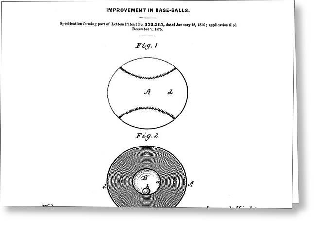 Baseball Patent 1876  Greeting Card by Bill Cannon