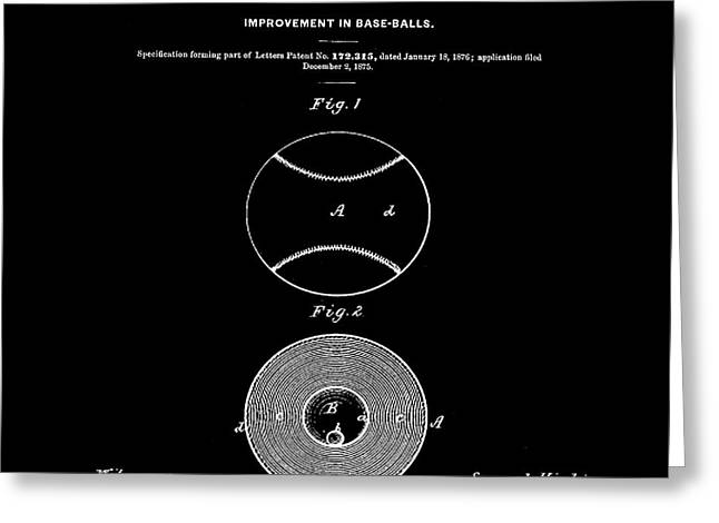 Baseball Patent 1876 Black Greeting Card by Bill Cannon