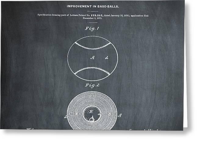 Baseball Patent 1876 Chalk Greeting Card