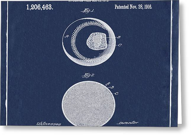 Baseball Patent 1916 Blue Greeting Card by Bill Cannon