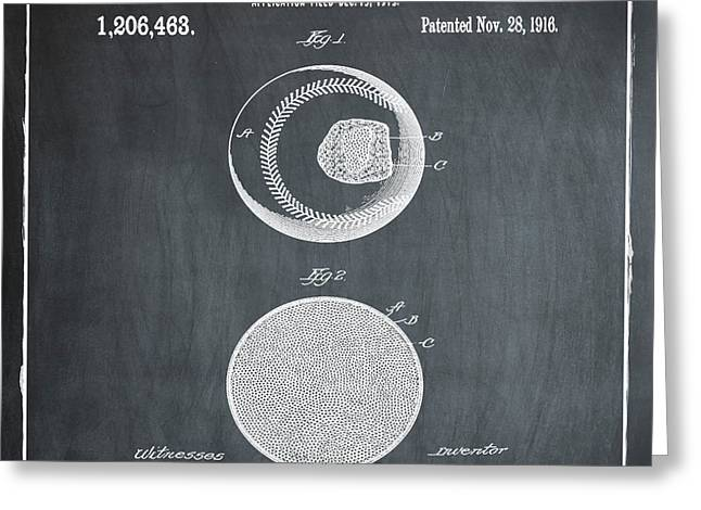 Baseball Patent 1916 Chalk Greeting Card by Bill Cannon