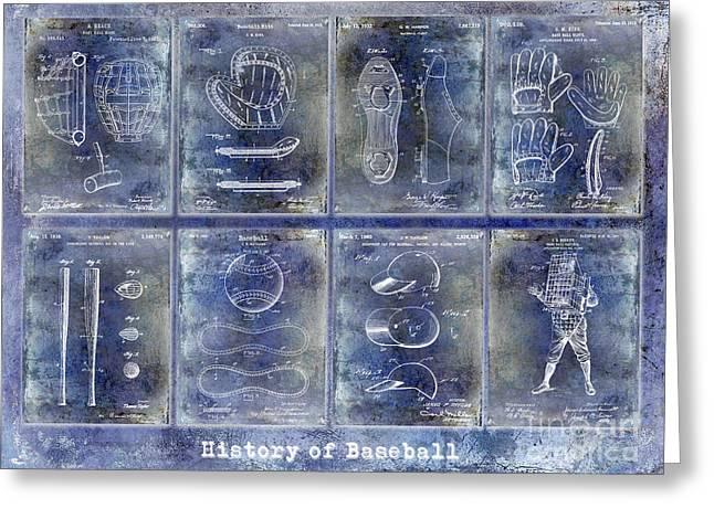 Baseball Patent History Blue Greeting Card by Jon Neidert