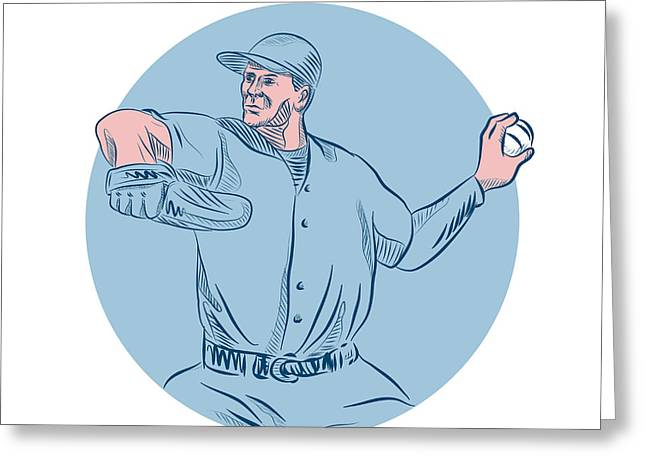 Baseball Pitcher Throwing Ball Circle Drawing Greeting Card