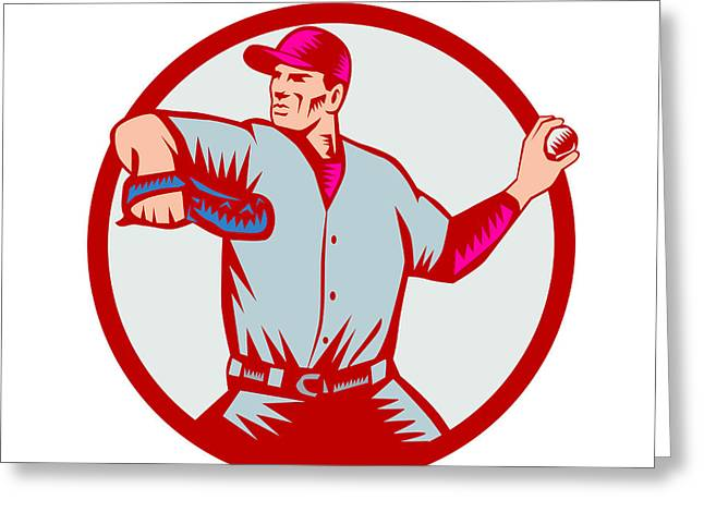 Baseball Pitcher Throwing Ball Circle Side Woodcut Greeting Card by Aloysius Patrimonio
